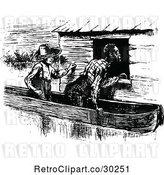 Vector Clip Art of Retro Black Guy and Boy in a Boat by Prawny Vintage