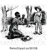 Vector Clip Art of Retro Black Guy Begging at a Boys Feet by Prawny Vintage