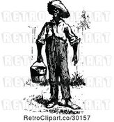 Vector Clip Art of Retro Black Guy Carrying a Pail by Prawny Vintage