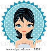 Vector Clip Art of Retro Black Haired Blue Eyed Formal Lady Wearing a Blue Gown and Earrings, in Front of a Blue Sun by Melisende Vector
