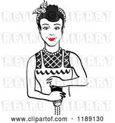 Vector Clip Art of Retro Black Haired Housewife or Maid Lady Grinding Fresh Pepper 2 by Andy Nortnik