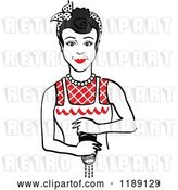 Vector Clip Art of Retro Black Haired Housewife or Maid Lady Grinding Fresh Pepper by Andy Nortnik