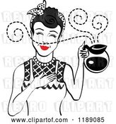 Vector Clip Art of Retro Black Haired Waitress or Housewife Smelling the Aroma of Fresh Hot Coffee in a Pot 2 by Andy Nortnik