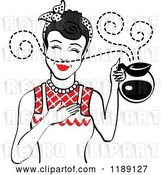 Vector Clip Art of Retro Black Haired Waitress or Housewife Smelling the Aroma of Fresh Hot Coffee in a Pot by Andy Nortnik