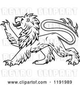 Vector Clip Art of Retro Black Heraldic Lion in Profile 3 by Vector Tradition SM