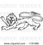 Vector Clip Art of Retro Black Heraldic Lion in Profile by Vector Tradition SM