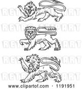 Vector Clip Art of Retro Black Heraldic Lions in Profile by Vector Tradition SM