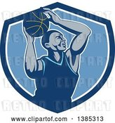 Vector Clip Art of Retro Black Male Basketball Player Doing a Layup in a Blue and White Shield by Patrimonio