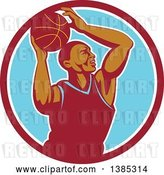 Vector Clip Art of Retro Black Male Basketball Player Doing a Layup in a Red White and Blue Circle by Patrimonio