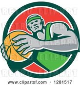 Vector Clip Art of Retro Black Male Basketball Player Holding a Ball in a Green White and Red Circle by Patrimonio