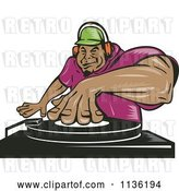 Vector Clip Art of Retro Black Male Dj Mixing Records by Patrimonio