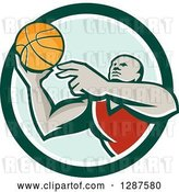 Vector Clip Art of Retro Black Male Gen Basketball Player Doing a Layup in a Green and White Circle by Patrimonio