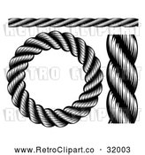 Vector Clip Art of Retro Black Nautical Rope - Digital Collage by AtStockIllustration