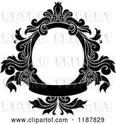 Vector Clip Art of Retro Black Oval Frame with Floral Leaves and a Banner by Vector Tradition SM