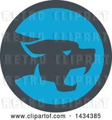 Vector Clip Art of Retro Black Panther Big Cat Growling in a Gray and Blue Circle by Patrimonio