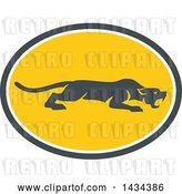 Vector Clip Art of Retro Black Panther Big Cat Stalking in a Gray White and Yellow Oval by Patrimonio