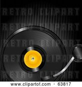 Vector Clip Art of Retro Black Record Spinning over a Black Lined Background by Elaineitalia