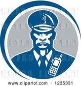 Vector Clip Art of Retro Black Security Guard in a Blue and Gray Circle by Patrimonio