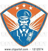 Vector Clip Art of Retro Black Security Guard over a Blue and Orange Shield by Patrimonio