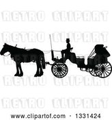 Vector Clip Art of Retro Black Silhouetted Coachman Sitting on a Horse Drawn Buggy Carriage, in Profile by Maria Bell