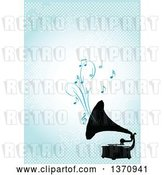 Vector Clip Art of Retro Black Silhouetted Gramophone Playing Music over a Blue Background with Dots by Pushkin