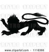Vector Clip Art of Retro Black Silhouetted Heraldic Lion by Vector Tradition SM