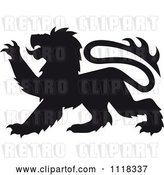 Vector Clip Art of Retro Black Silhouetted Heraldic Lion Clawing by Vector Tradition SM