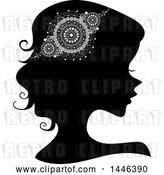Vector Clip Art of Retro Black Silhouetted Profiled Lady Wearing a Doily Headdress by BNP Design Studio
