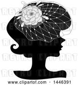 Vector Clip Art of Retro Black Silhouetted Profiled Lady Wearing a Floral Net Headdress by BNP Design Studio