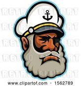 Vector Clip Art of Retro Black Skipper or Sea Captain Mascot Head by Patrimonio