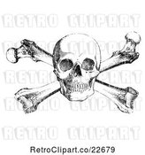 Vector Clip Art of Retro Black Skull and Crossbones with White Distress Overlay by BestVector