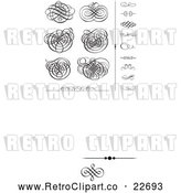Vector Clip Art of Retro Black Swirl Designs and Borders 2 by BestVector