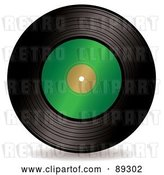 Vector Clip Art of Retro Black Vinyl Record with a Blank Green Label by Michaeltravers