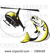 Vector Clip Art of Retro Black White and Yellow Barramundi Asian Sea Bass Fish Jumping and Swallowing a Fishing Line Attached to a Helicopter by Patrimonio