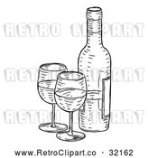Vector Clip Art of Retro Black Wine Bottle and Glasses by AtStockIllustration