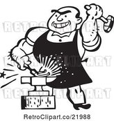 Vector Clip Art of Retro Blacksmith Hammering Iron Against an Anvil by BestVector