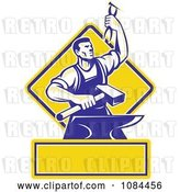 Vector Clip Art of Retro Blacksmith with Pliers and an Anvil with Copyspace by Patrimonio