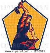 Vector Clip Art of Retro Blacksmith Worker Guy Striking an Anvil with a Sledgehammer over a Triangle Patterned Pentagon by Patrimonio