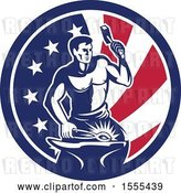 Vector Clip Art of Retro Blacksmith Worker Hammering in an American Flag Circle by Patrimonio