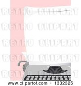 Vector Clip Art of Retro Blank Piece of Paper in a Typewriter over Pink by BNP Design Studio