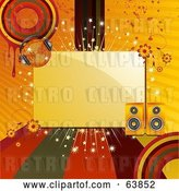 Vector Clip Art of Retro Blank Space Bordered with Colored Lines, Circles, Grunge, Flowers, Speakers and a Disco Ball by Elaineitalia