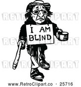 Vector Clip Art of Retro Blind Man Begging by Prawny Vintage