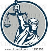 Vector Clip Art of Retro Blindfolded Lady Justice Holding Scales in a Blue and Gray Circle by Patrimonio