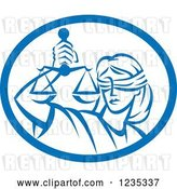 Vector Clip Art of Retro Blindfolded Lady Justice Holding Scales in a Blue and White Oval by Patrimonio