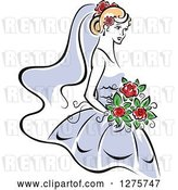 Vector Clip Art of Retro Blond Bride in a Periwinkle Dress, with Red Flowers by Vector Tradition SM