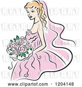 Vector Clip Art of Retro Blond Bride in a Pink Dress by Vector Tradition SM