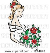 Vector Clip Art of Retro Blond Bride with Red Roses by Vector Tradition SM