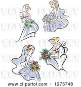 Vector Clip Art of Retro Blond Brides in Periwinkle Dresses by Vector Tradition SM