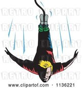 Vector Clip Art of Retro Blond Bungee Jumper Falling by Patrimonio