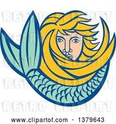 Vector Clip Art of Retro Blond Female Mermaid with Long Hair and a Tail by Patrimonio